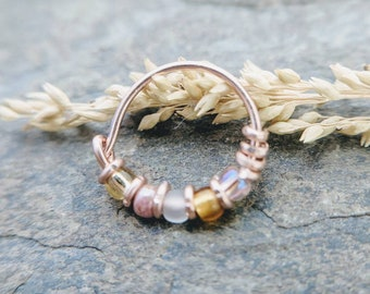 pink dahlia indian nose ring, beaded helix cartilage hoop-- handmade by thebeadedlily