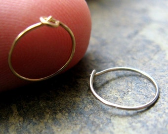 26g nose ring-- solid 14k gold hoop single, yellow, white or rose-- primitive series-- handmade by thebeadedlily