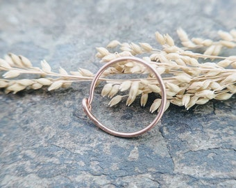 22g nose ring-- sterling silver, 14k solid gold or niobium hoop-- primitive series-- handmade by thebeadedlily