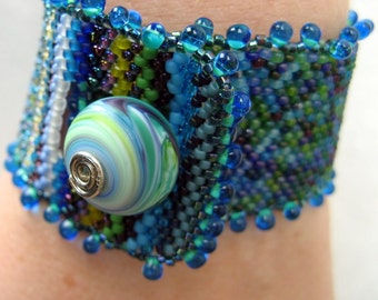 monet's waterlilies, beadwoven cuff bracelet in blue and green-- one of a kind wearable art by thebeadedlily