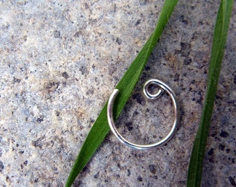 22g catchless nose ring-- sterling silver, niobium or gold fill-- primitive series-- handmade by thebeadedily
