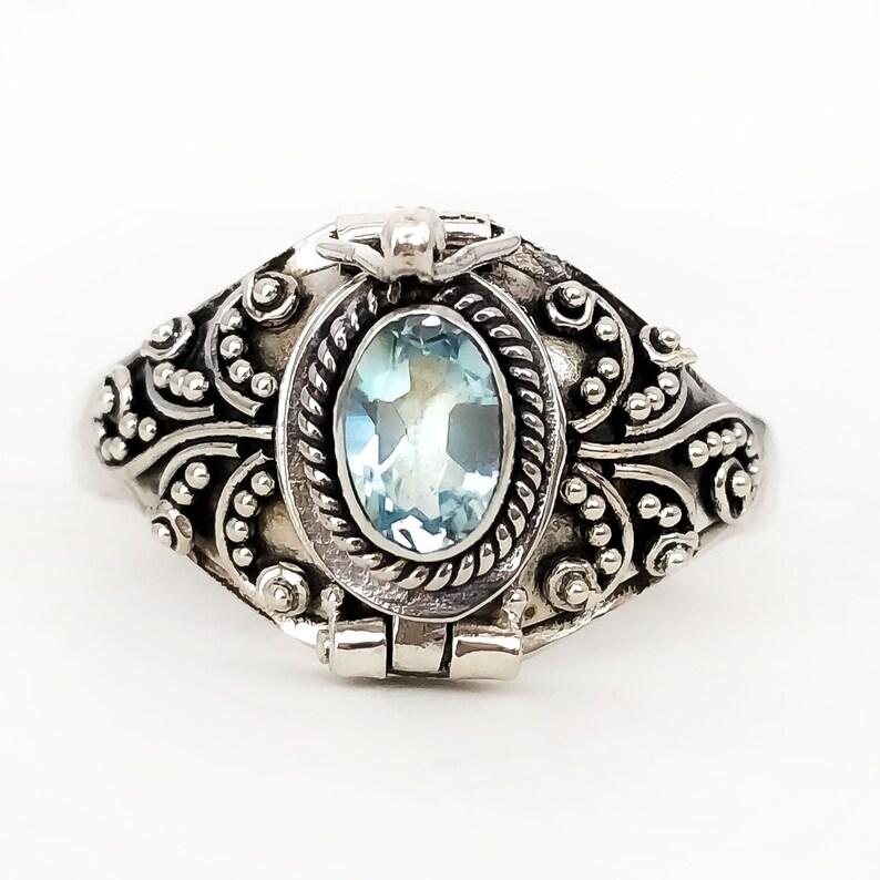 Sky Blue topaz sub for March birthstone Aquamarine or December birthstone Poison Ring Bali Sterling Silver Locket Ring AR05