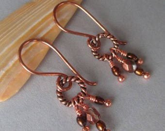 Copper Freshwater Pearl Czech Glass Earrings
