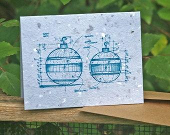 Plans for Ornaments - Plantable Blueprint design Christmas Card