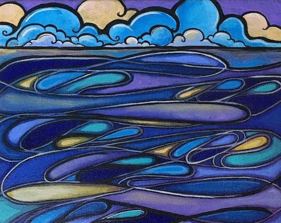 STORMY SEA Original contemporary painting 12x12