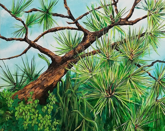 "SUMMER PINES Landscape 20x20"" Original Painting"