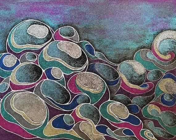Glitter Paint Abstract Cloud Art 11 x 14