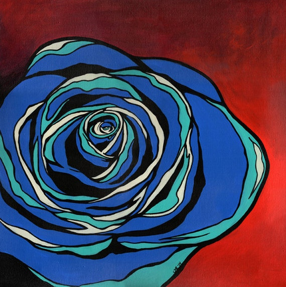 Open Edition Print of Blue Rose - MODERN POP poster 2 sizes available