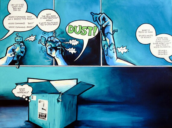 Original Robot Comic Art - Dust the Shelf 30x40