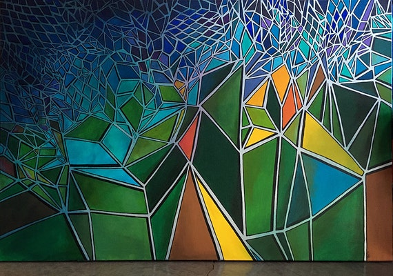 STAINED GLASS inspired contemporary art - Glass Ceilings 24x36