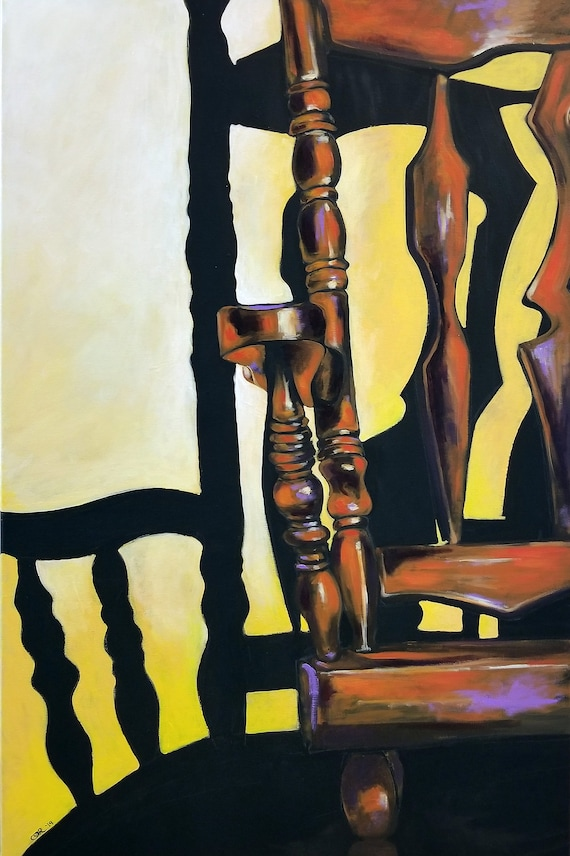 Large Contemporary Rocking Chair Painting - 24x36
