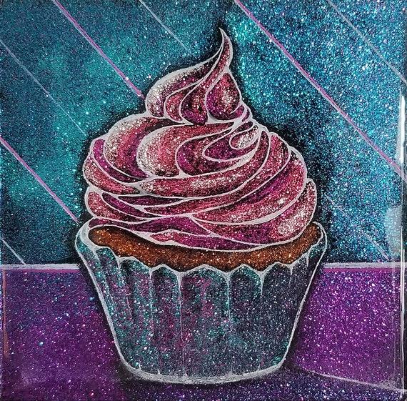 Glitter Paint Cupcake Art 8x8