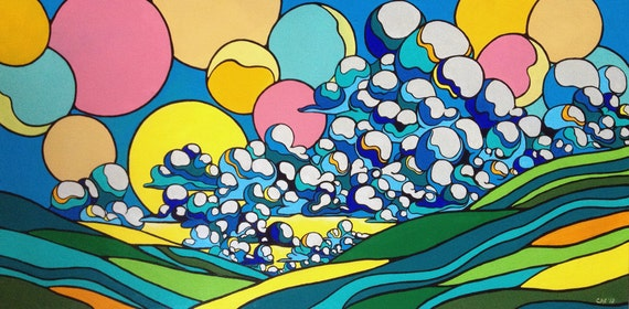 Joyful Landscape, Original Contemporary Painting with Clouds 24x48