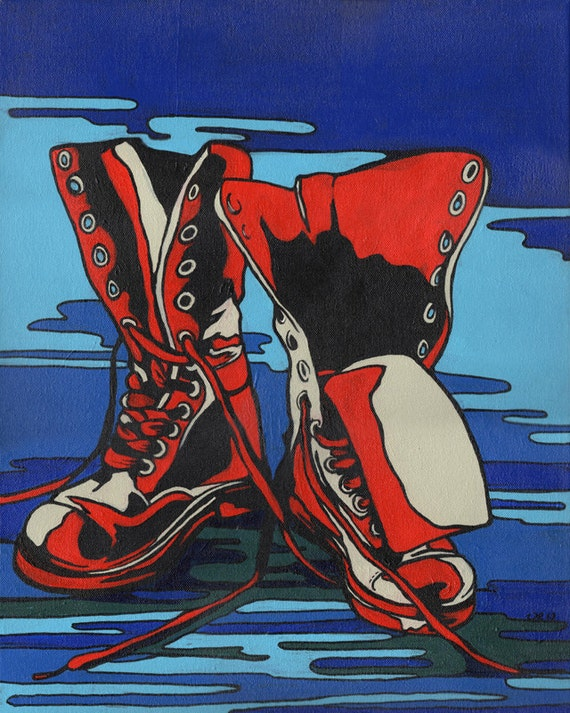 RED COMBAT BOOTS - open edition print
