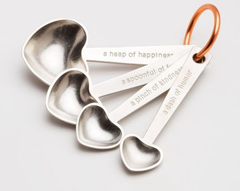 beehive heart quotes metal measuring spoons, tablespoons, teaspoons, kitchenware, gift for cooks, baking, cooking, wedding, mothers day gift