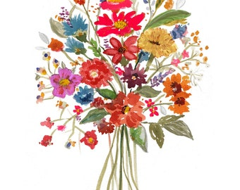 Wildflower Floral - Printable Art- From Original Watercolor
