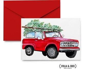 Christmas Greeting Card - Vintage Bronco