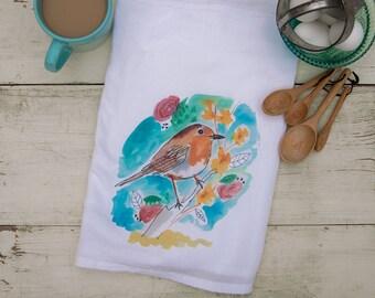 Watercolor Bird Collection- Flour Sack Tea Towel