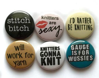Knitting Pinback Badges or Small Knitting Magnets - Inexpensive Gift for Knitters - Knitting Stocking Stuffer!