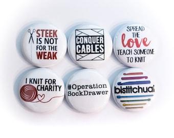 Knitting Merit Badges | Pins for Adventurous Knitters | Magnets for Knitters | Knitting Stocking Stuffer
