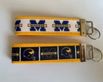University of Michigan leather keychain