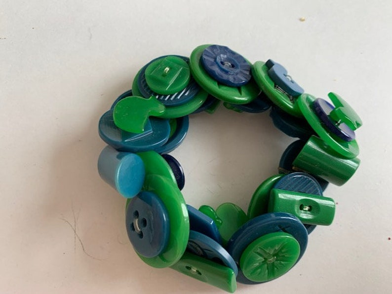 Artisan Vintage Button Bracelet Unique One of Kind Mostly Catalin Plastics  Bright Colorful Blue /& Green Colored Elastic Slip On #12
