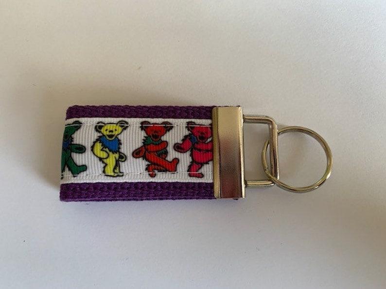 White Background Preppy Fun Keychains Wristlet Key Fobs Tie Dye Hippie Hippy Grateful Dead Dancing Bears Colorful