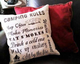 Camping Rules Pillow Cover with your choice of camper type by Howard Avenue