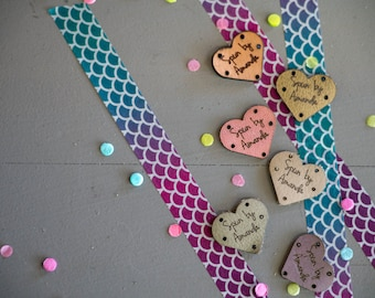 Knitting Tags - Hem Tags - Crochet Tags - Sewing Tags - Leather tags - Garment Tags - Product Tags - Knitting Labels - Set of 10 - HEARTS