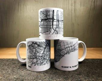 Personalized BLACK AND WHITE city map Mug - custom gift - personalized gift - maps - map mug