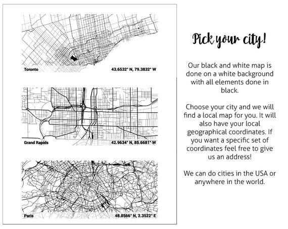Personalized BLACK AND WHITE city map Mug custom gift | Etsy