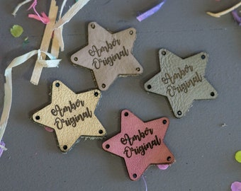 Knitting Tags - Knitting Labels - Personalized Tags - Custom Tags - Custom Labels - Personalized Labels - Sewing Tags - Leather Tags - Stars