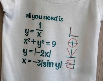 All you Need is Love Onsie - Nerd Onsie - Math Onsie - Baby Math - Geek Gift - Geek Baby - Math Baby - Engineer Baby - Baby Gift