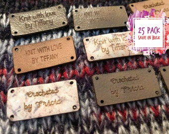 Knitting Tags - Hem Tags - Crochet Tags - Sewing Tags - Leather tags - Garment Tags - Product Tags - Knitting Labels - Set of 25 - Blocks