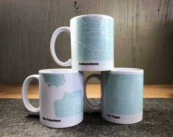 Personalized MINT city map Mug - custom gift - personalized gift - maps - map mug