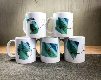 Heart to Heart Mug - custom gift - personalized gift - maps - map mug