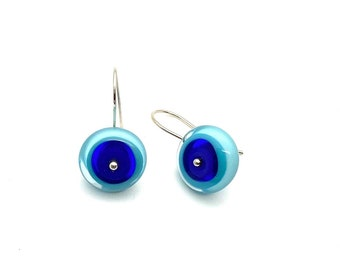 Short Circle Dangle Earrings in Blue and Turquoise Glass and Sterling Silver