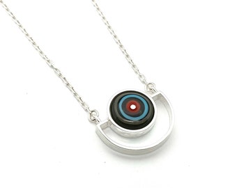 Semicircle Necklace in Red, Turquoise, and Gray Glass and Sterling Silver