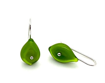 Tiny Leaf Dangle Earrings in Green Glass and Sterling Silver