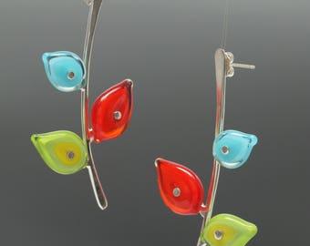 Botanical Earrings - Red turquoise green earrings, art glass earrings, leaf earrings, flower earrings, elegant earrings, Mother's Day Gift