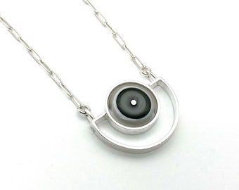 Semicircle Necklace in White and Gray Glass and Sterling Silver