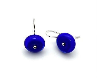 Small Circle Dangle Earrings in Intense Blue Glass and Sterling Silver