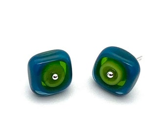 Large Square Stud Earrings in Chartreuse and Navy Glass and Sterling Silver