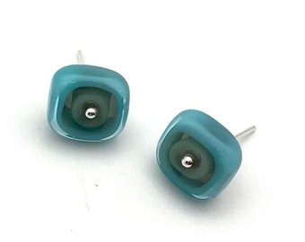 Large Square Stud Earrings in Gray and Turquoise Glass and Sterling Silver