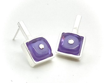 Tiny Square Sterling Silver Framed Stud Earrings with Glass (Choice of Colors)