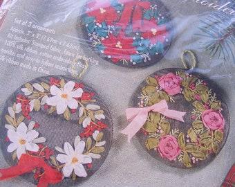 DESTASH Silk Ribbon Embroidery Kit Christmas Wreath Holiday