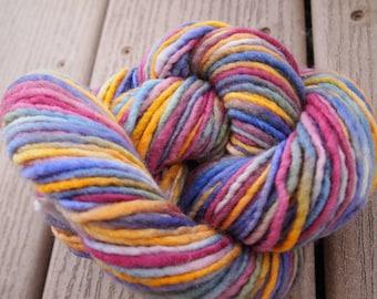 Clearance Handpainted Yarn Wool 95yards Worsted Weight Knitting Aspenmoonarts Hand Painted Purple Blue Gold Magenta C011B Felting