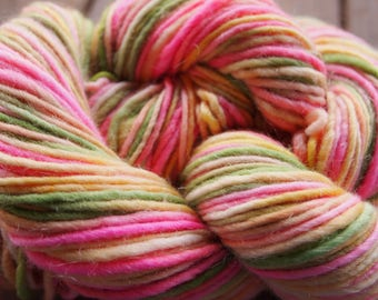 Clearance Handpainted Yarn Wool Mohair 164yards 3.6 ounces Worsted Weight Knitting Aspenmoonarts Hand Painted Green Yellow Pink CWM030