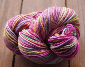 Clearance Handpainted Yarn Wool 192yards Worsted Weight Knitting Aspenmoonarts Hand Painted Pink Yellow Green CW035 Felting