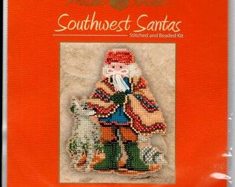 Mill Hill Kit Mesa Santa DESTASH Southwest Santas Counted Cross Stitch Kit Beaded Christmas Holiday